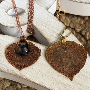 Gold Filigree Leaf Pendant and Chain Bundle of 2!